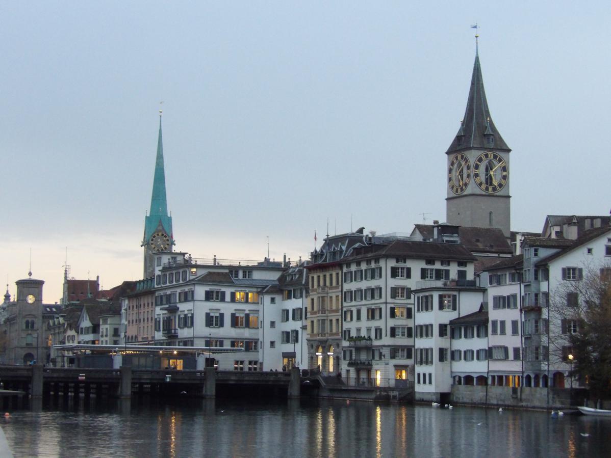 Promenade dans Zürich, en fin de journée