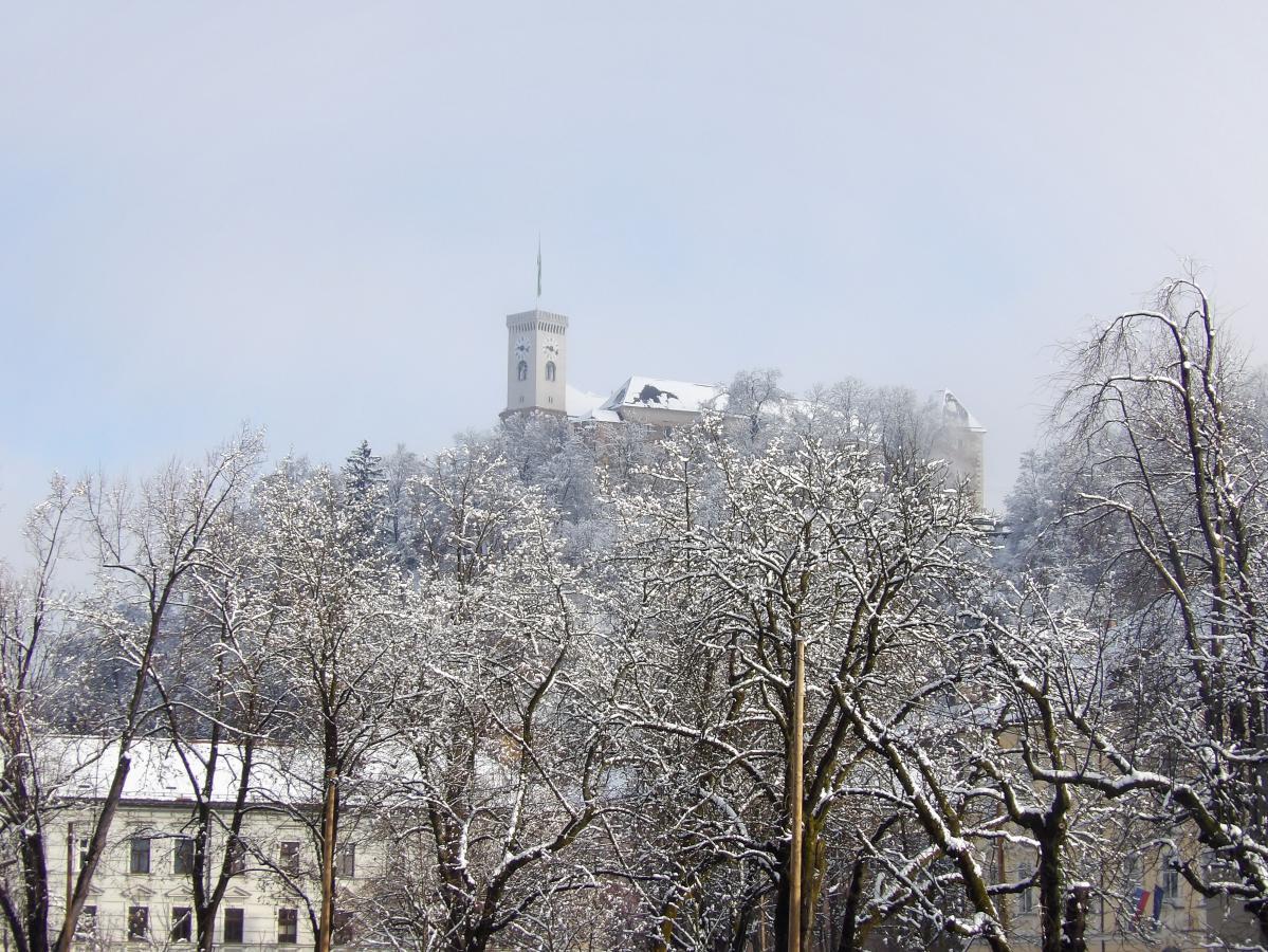 Le château de Ljubljana sous la neige