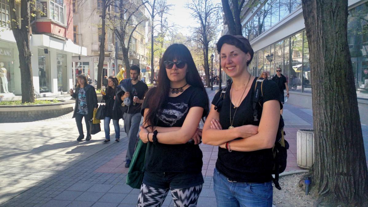 Avec Gina, dans une rue de Plovdiv