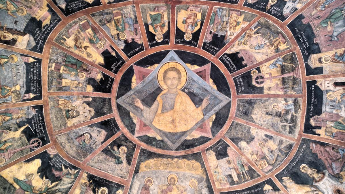 L'un des plafonds du monastère de Sinaia