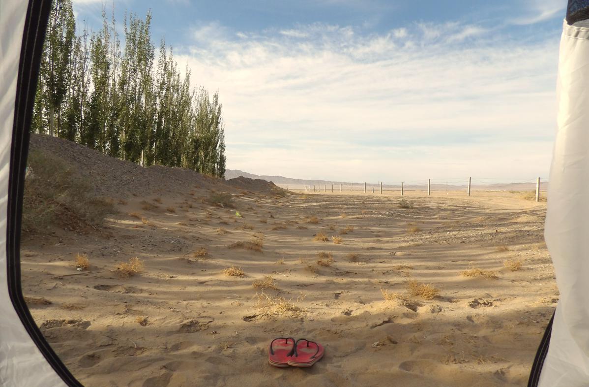 camping dans le désert de gobi en chine