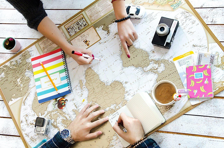 cadeau pour voyageur carte du monde