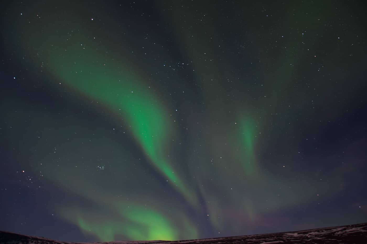aurores boréales en Islande du Nord