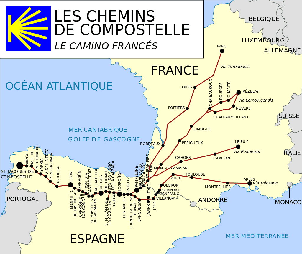 camino frances etapes carte