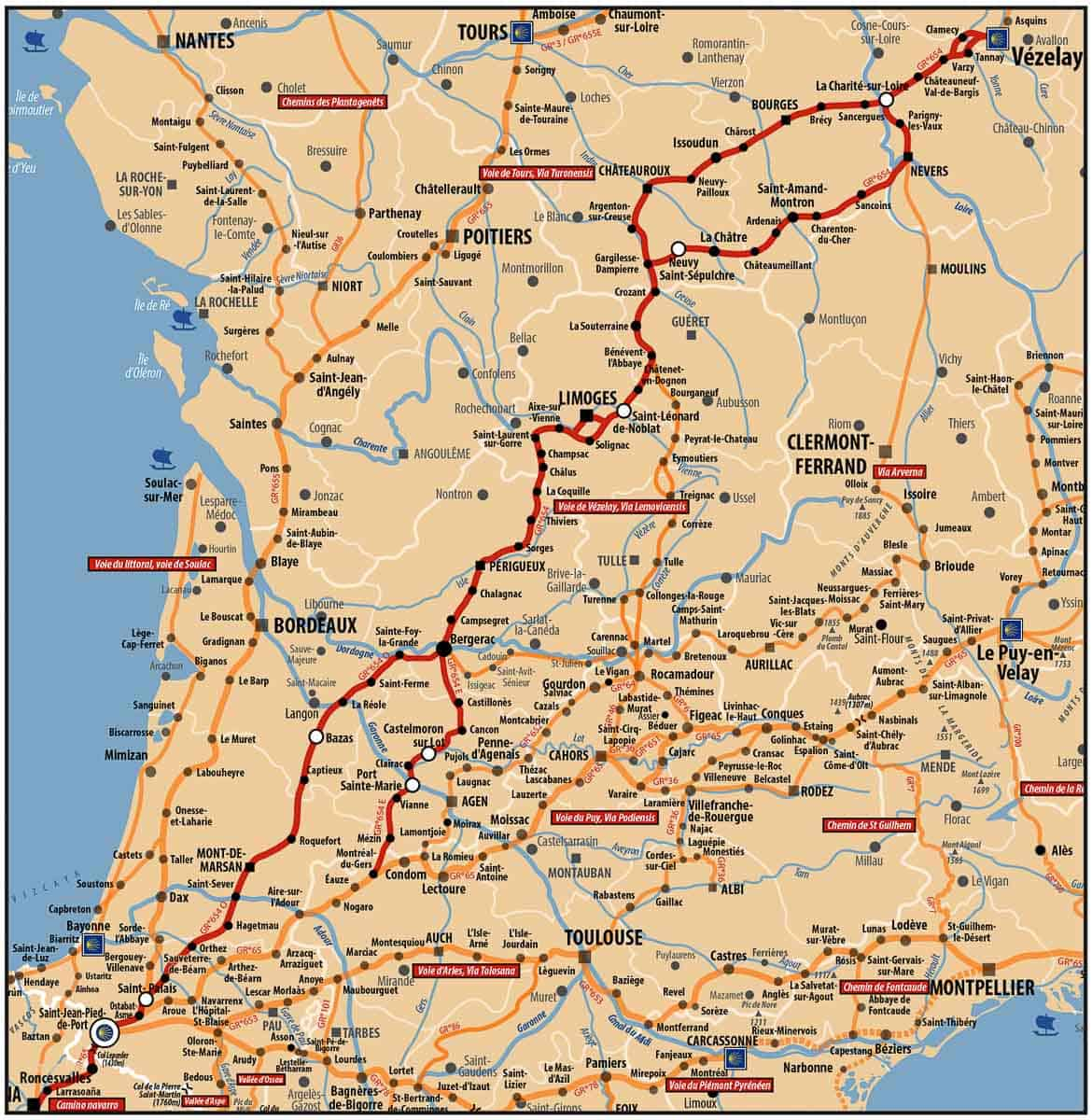 itinéraire voie de vézelay toutes les étapes
